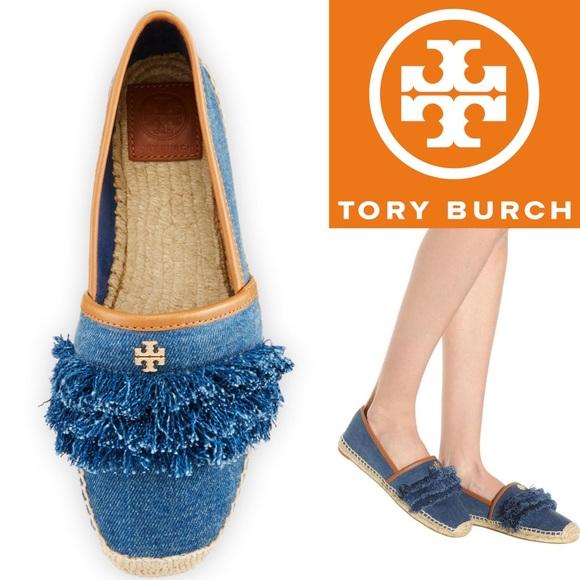 642b194df10 Tory Burch Shaw Fringe Espadrille Flat Denim Blue NWT